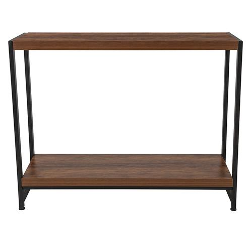 Grove Hill Collection Rustic Wood Grain Finish Console Table with Black Metal Frame