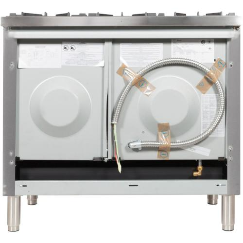 Nostalgie 48 Inch Dual Fuel Natural Gas Freestanding Range in Stainless Steel with Bronze Trim