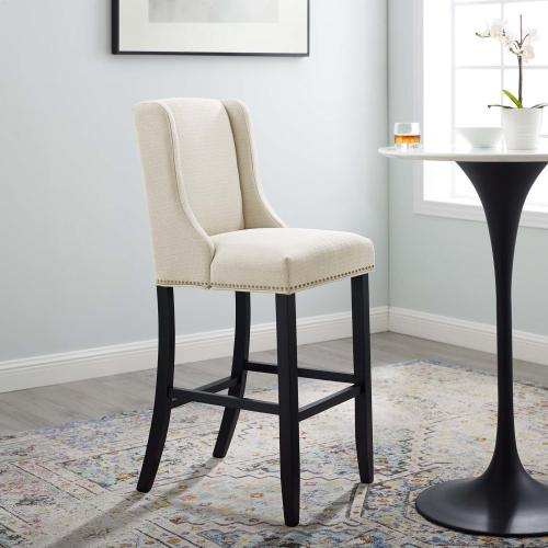 Baron Upholstered Fabric Bar Stool in Beige