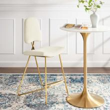 Ponder Performance Velvet Bar Stool in Ivory