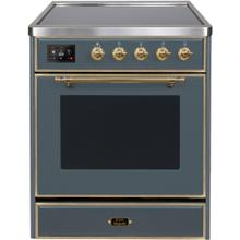 See Details - Majestic II 30 Inch Electric Freestanding Range in Blue Grey with Brass Trim
