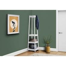 "COAT RACK - 72""H / WHITE CORNER WITH 3 SHELVES"
