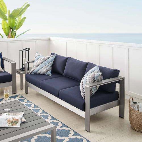 Shore Sunbrella® Fabric Aluminum Outdoor Patio Sofa in Silver Navy