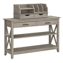 Key West Console Table with Storage and Desktop Organizers - Washed Gray