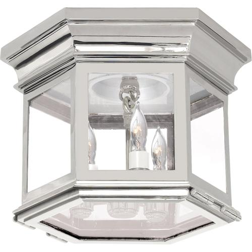 Visual Comfort CHC4125PN-CG E. F. Chapman Club 3 Light 12 inch Polished Nickel Flush Mount Ceiling Light in Clear Glass