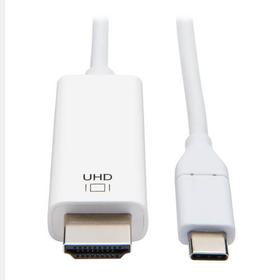 USB-C to HDMI Adapter Cable, 4K 60Hz, HDCP 2.2, White, 3 ft.