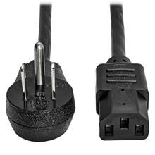 Desktop Computer AC Power Cord, Right-Angle NEMA 5-15P to C13 - 10A, 125V, 18 AWG, 6 ft. (1.83 m), Black