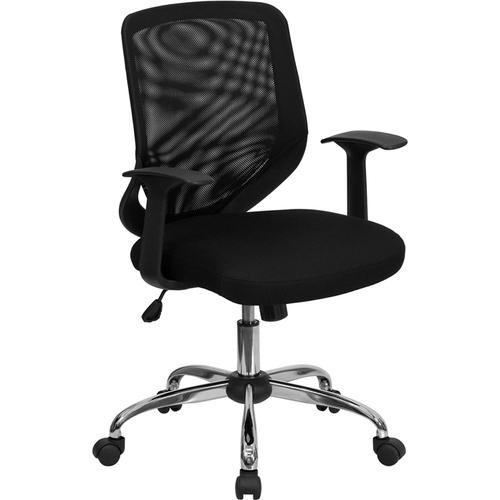 Flash Furniture - Mid-Back Black Mesh Tapered Back Swivel Task Office Chair with Chrome Base and T-Arms