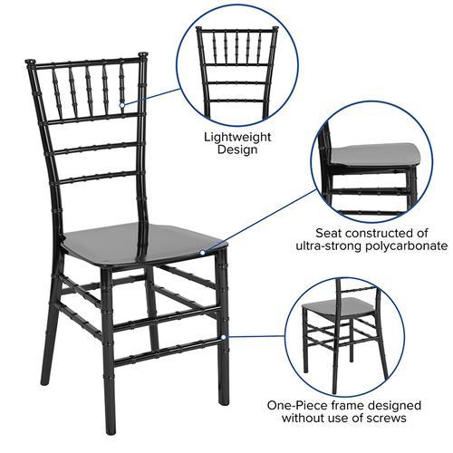 Flash Furniture - HERCULES Series Black Resin Stacking Chiavari Chair
