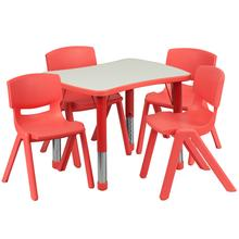 See Details - 21.875''W x 26.625''L Rectangular Red Plastic Height Adjustable Activity Table Set with 4 Chairs
