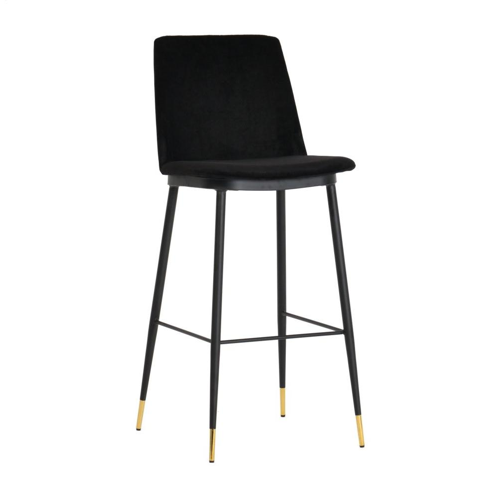 Evora Black Velvet Counter Stool (Set of 2)