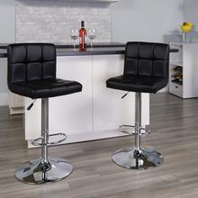 Contemporary Black Quilted Vinyl Adjustable Height Barstool with Chrome Base