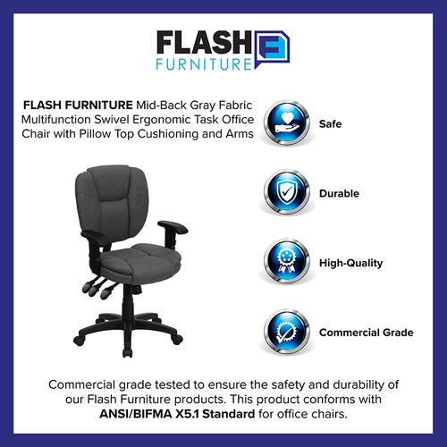 Gallery - Mid-Back Gray Fabric Multifunction Swivel Ergonomic Task Office Chair with Pillow Top Cushioning and Arms