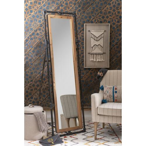 Free-standing Cheval Mirror, Natural and Gun Metal