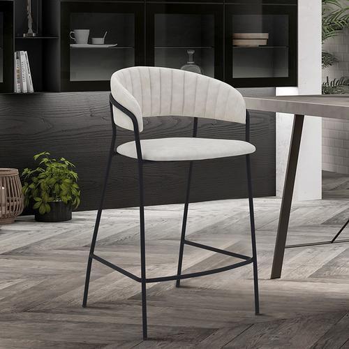 """Nara 26"""" Modern Counter Height Bar Stool with Black Metal Finish and Cream Faux Leather"""