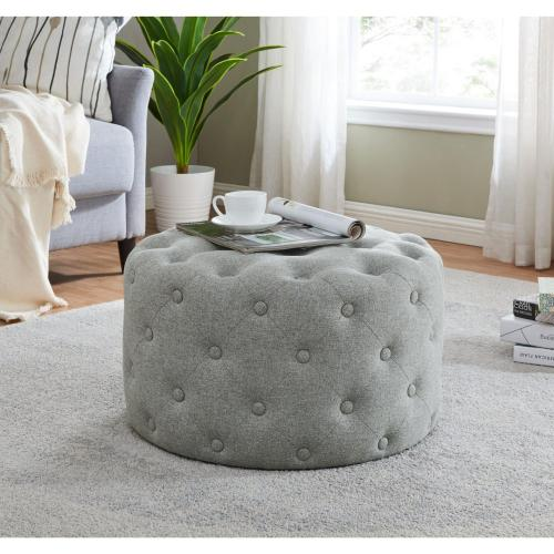 Lulu Round Fabric Tufted Ottoman, Minuet Gray