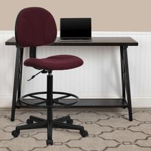 View Product - Burgundy Fabric Drafting Chair (Cylinders: 22.5''-27''H or 26''-30.5''H)