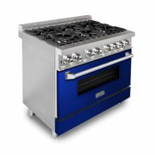ZLINE 36 in. Professional Dual Fuel Range with Blue Gloss Door (RA-BG-36)
