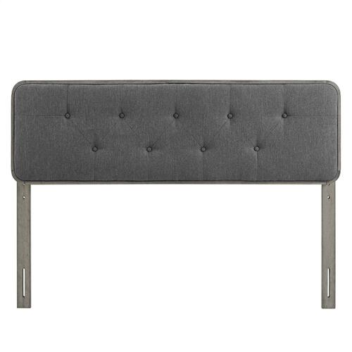 Collins Tufted Twin Fabric and Wood Headboard in Gray Charcoal