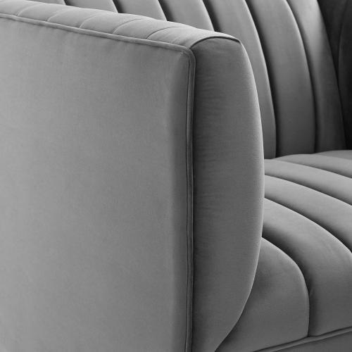 Shift Channel Tufted Performance Velvet Armchair in Gray