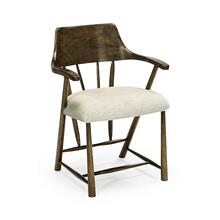 Dining Chair in Dark Driftwood, Upholstered in Shambala