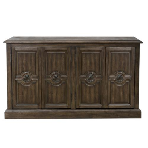 Four Door Carved Console in Oak Brown