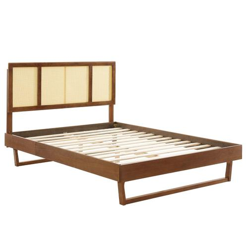 Kelsea Cane and Wood Queen Platform Bed With Angular Legs in Walnut