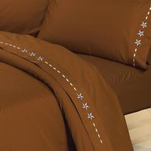 4 PC Embroidered Star Sheet Set, Cream, Chocolate - California King / Copper