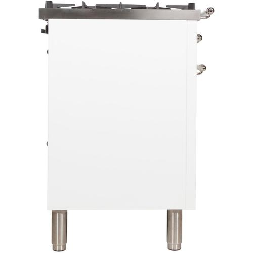 Nostalgie 30 Inch Dual Fuel Liquid Propane Freestanding Range in White with Chrome Trim