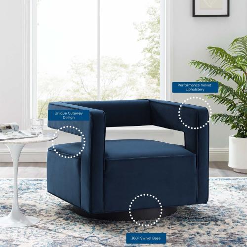 Booth Performance Velvet Swivel Armchair in Midnight Blue