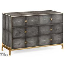 Faux anthracite shagreen low chest with gilded base