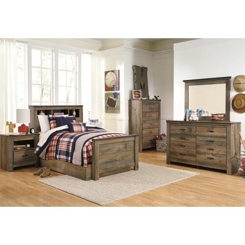 Twin Bookcase Bed With 1 Storage Drawer With Mirrored Dresser, Chest and 2 Nightstands