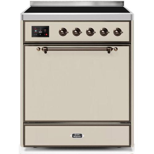 Majestic II 30 Inch Electric Freestanding Range in Antique White with Bronze Trim