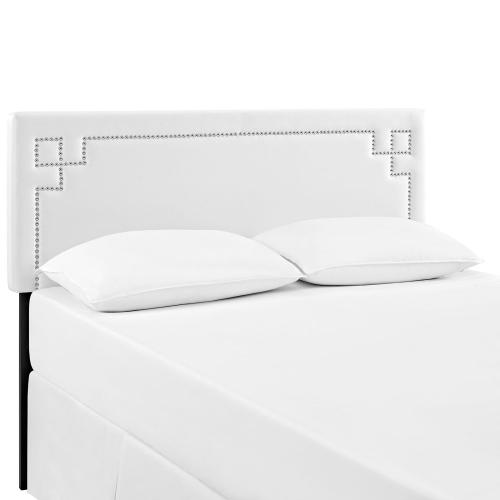 Josie Full Upholstered Vinyl Headboard in White