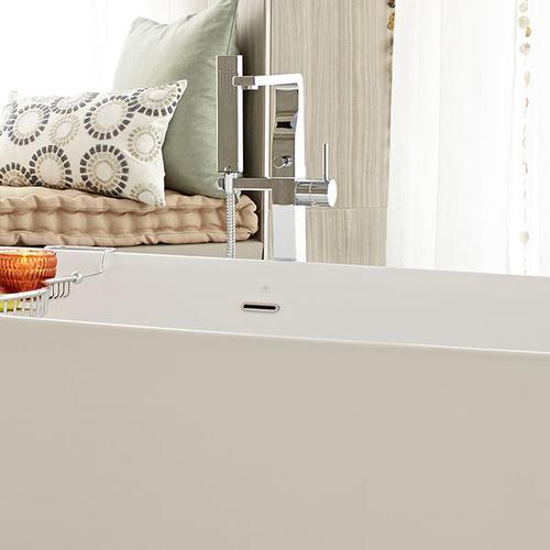 Square Floor Mount Bathtub Faucet - Polished Chrome