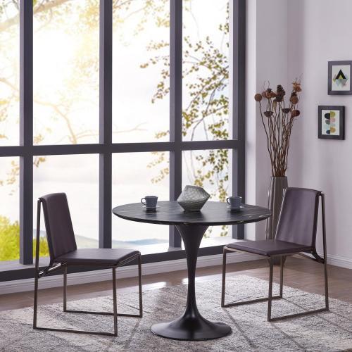 """Product Image - Allie 39"""" Striped Ebony Wood Veneer Round Dining Table, Ebony"""