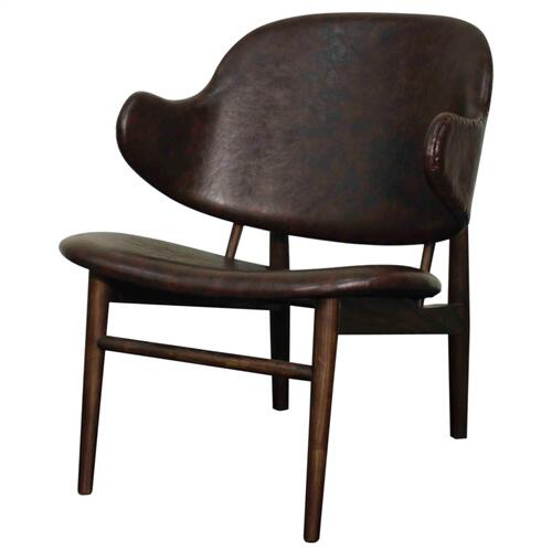 Doyle PU Chair Dark Walnut Legs, Distressed Java