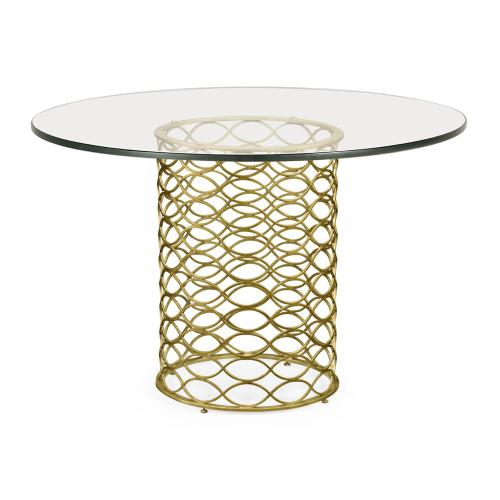 """48"""" Interlaced Gilded & Glass Dining Table"""