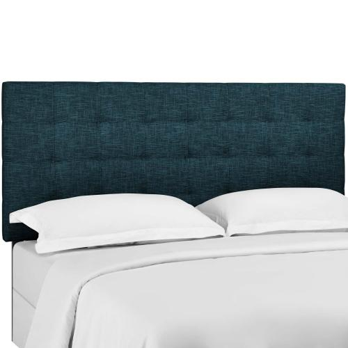 Paisley Tufted Full / Queen Upholstered Linen Fabric Headboard in Azure