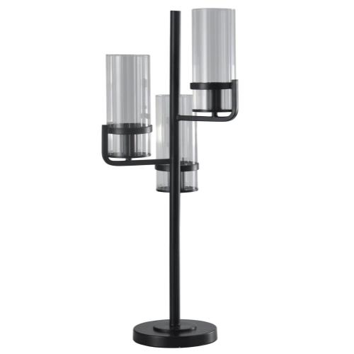Satin Black  Contemporary Uplight Metal and Glass Table Lamp  25W X 3  On-Off Line Switch