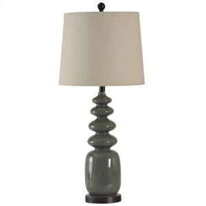 Dark Gray Painted Glass Table Lamp