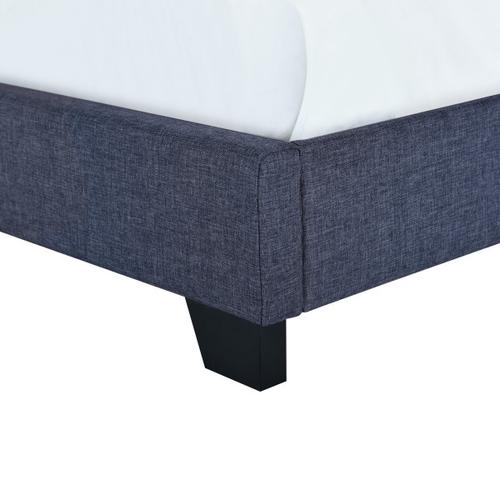 Accentrics Home - Button Tufted Twin Upholstered Bed in Denim Blue