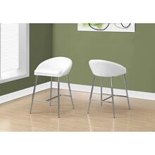 BARSTOOL - 2PCS / WHITE / CHROME BASE / BAR HEIGHT