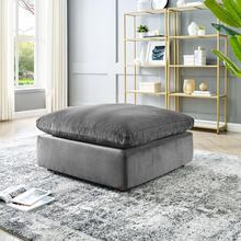 Commix Down Filled Overstuffed Performance Velvet Ottoman in Gray