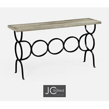 See Details - Rustic Grey Console with Circular Wrought Iron Base