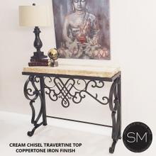 High-End Entry Console Table, made of Mexican Travertine Marble Top - Double Straigh Peach Travertine / Dark Rust Brown / 44 x 14 x 36