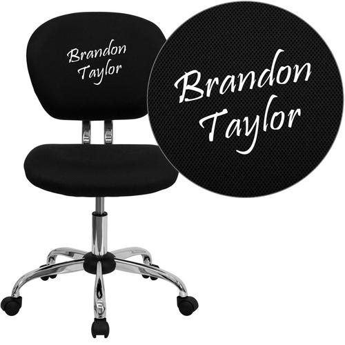 Embroidered Mid-Back Black Mesh Swivel Task Chair with Chrome Base