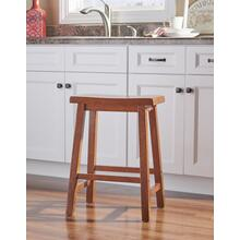 Saddle Seat Counter Stool, Distressed Honey Brown