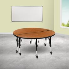 "See Details - 2 Piece Mobile 47.5"" Circle Wave Flexible Oak Thermal Laminate Kids Adjustable Activity Table Set"