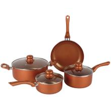 See Details - Brentwood BPS-107C 7-Piece Non-Stick Copper Cookware Set